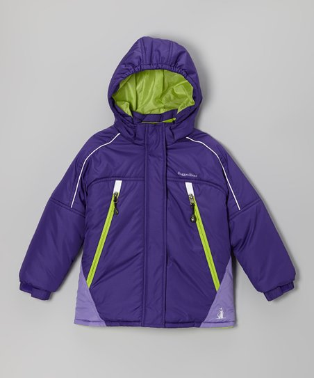 Purple & Lime Snow Jacket - Infant