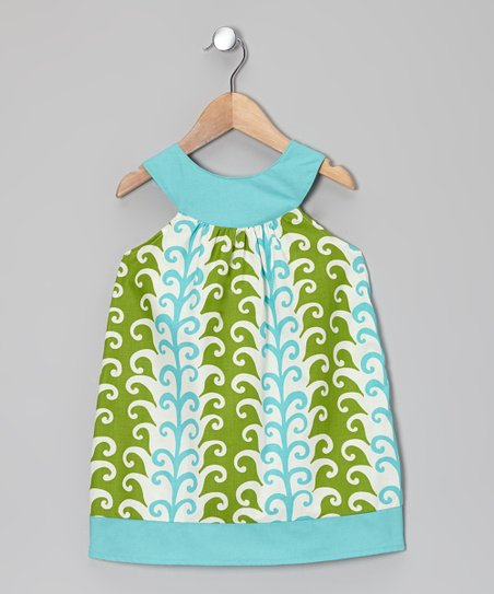 Turquoise Feather Yoke Dress - Toddler & Girls