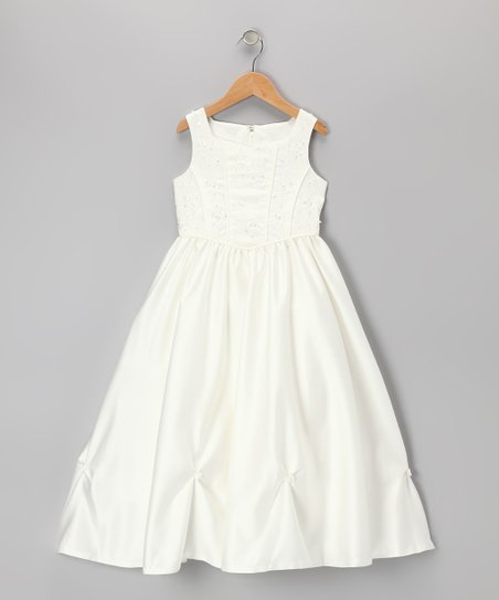 Ivory Rosette Dress - Girls