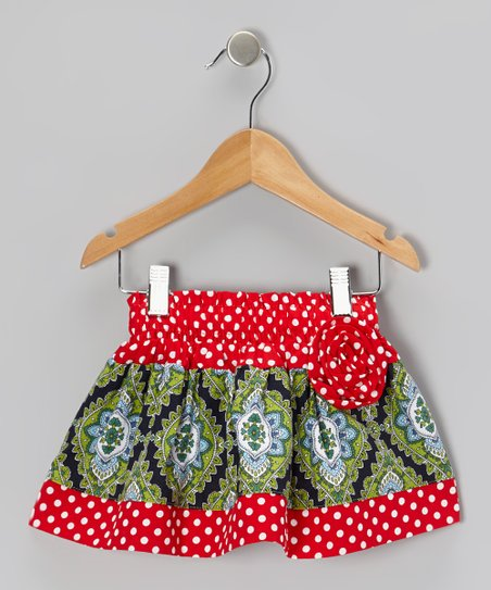 Red Polka Dot Paisley Corsage Skirt - Infant, Toddler & Girls