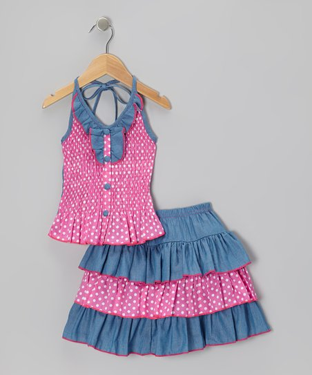 Pink Polka Dot Halter Top & Skirt - Infant, Toddler & Girls