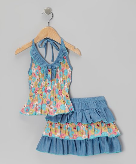 Light Blue Floral Halter Top & Tiered Skirt - Toddler & Girls
