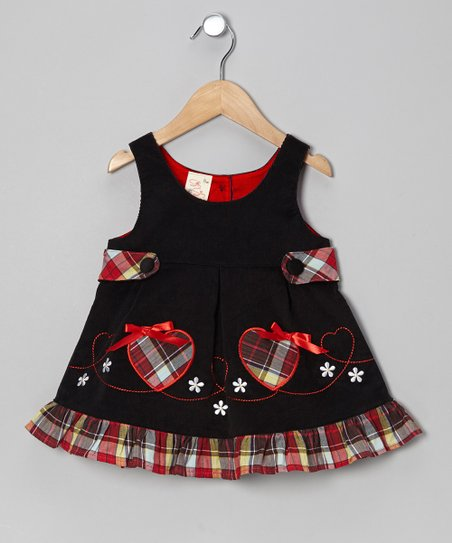 Black Plaid Corduroy A-Line Dress - Toddler & Girls