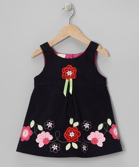 Navy Corduroy Flower Dress - Toddler & Girls