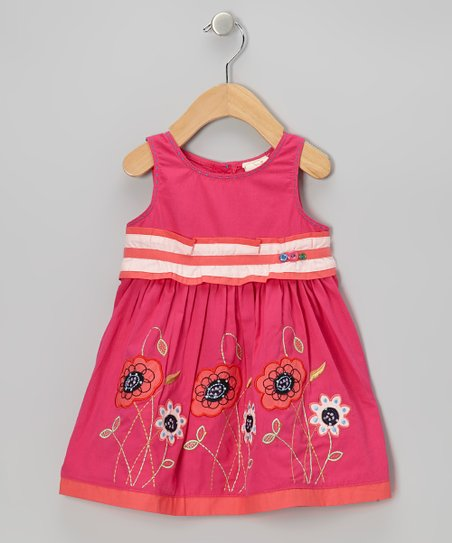 Hot Pink Stripe Flower Dress - Infant, Toddler & Girls