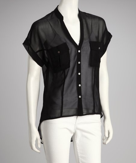 Black Pocket Button-Up