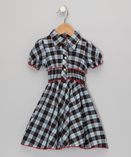 Blue & Red Plaid Shirt Dress - Toddler & Girls