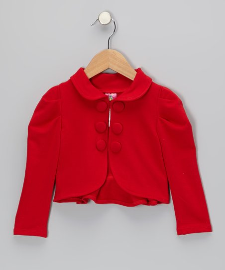 Red Gathered Shoulder Ruffle Jacket - Toddler & Girls