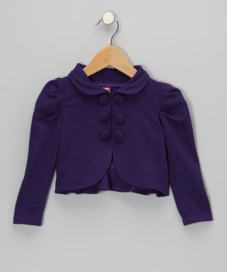 Purple Gathered Shoulder Ruffle Jacket - Toddler & Girls