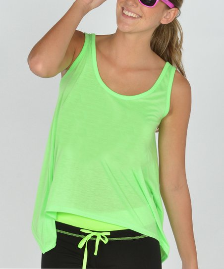Neon Green Shark Bite Sidetail Tank