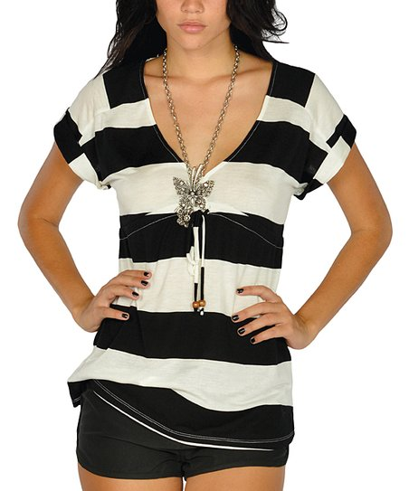 Black Stripe Drawstring V-Neck Cover-Up