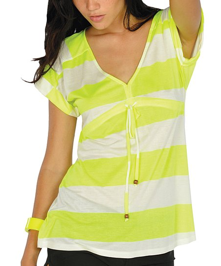 Neon Yellow Stripe Drawstring V-Neck Top