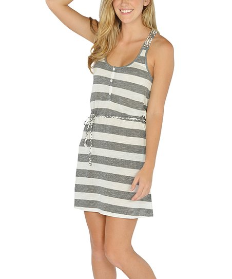 Black Stripe Braided Racerback Dress
