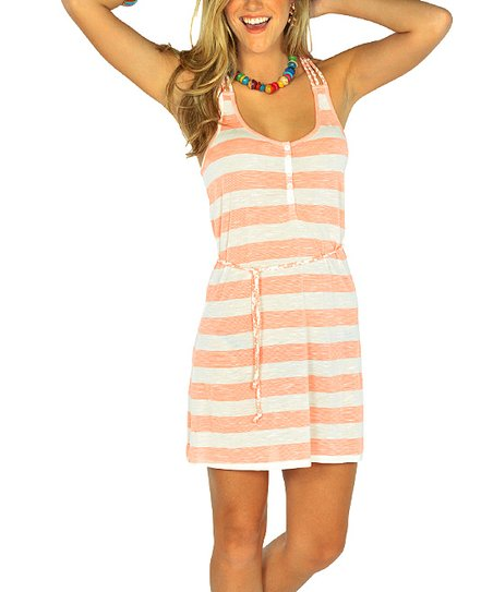 Neon Orange Stripe Racerback Dress