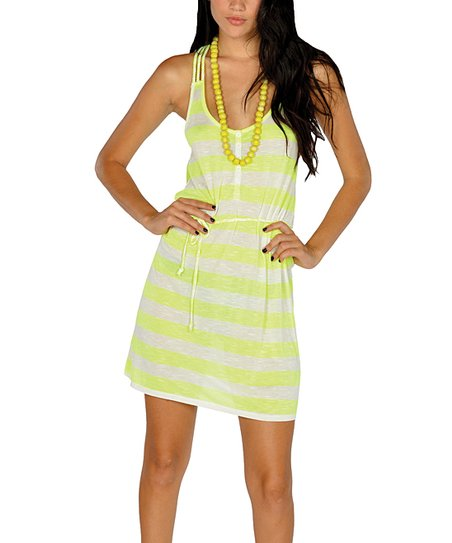Neon Yellow Stripe Braided Racerback Dress
