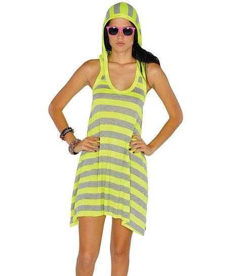 Neon Yellow Stripe Hooded Racerback Dress