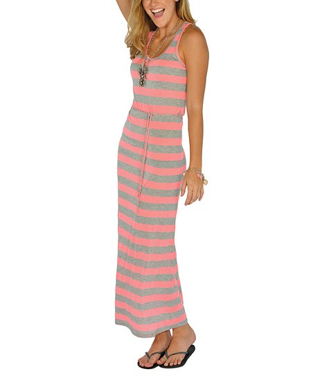 Neon Pink Stripe Maxi Dress