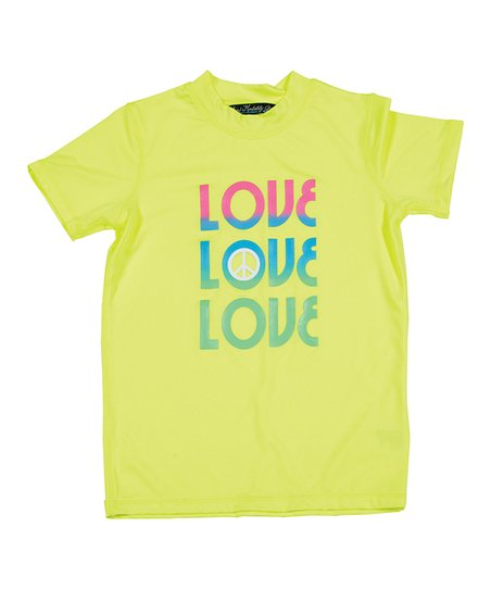 Neon Yellow & Green 'Love' Rashguard