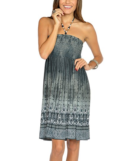 Black Beaded Batik Halter Dress