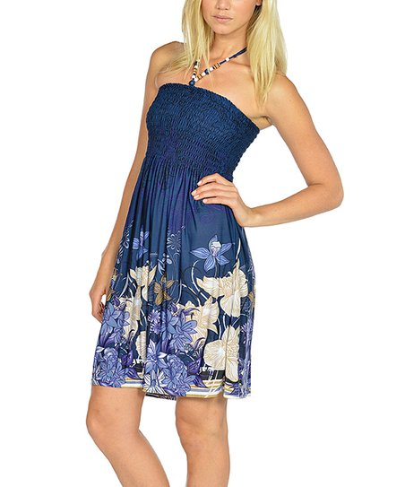 Navy Beaded Floral Halter Dress