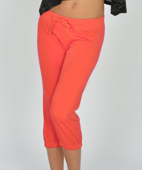 Orange Terry Capri Sweatpants