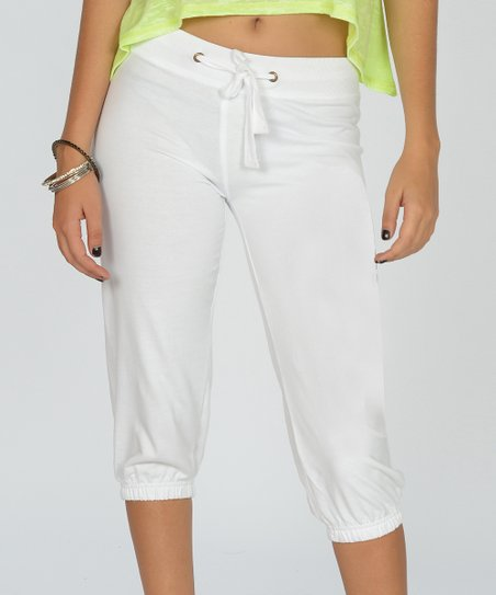 White Terry Capri Sweatpants