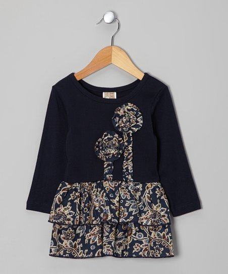 Navy Floral Paisley Dress - Toddler & Girls