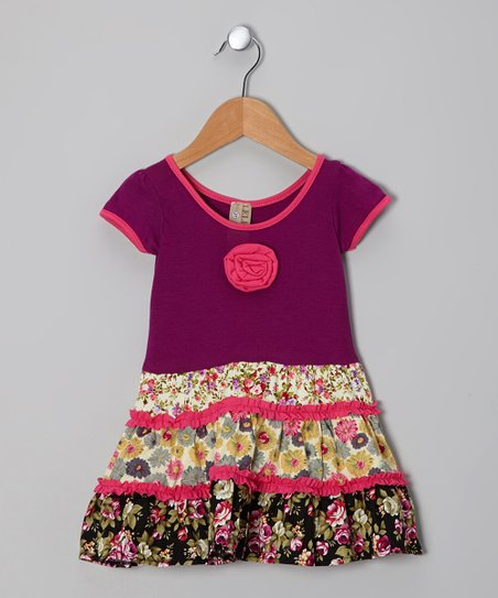 Purple Floral Patchwork Dress - Toddler & Girls