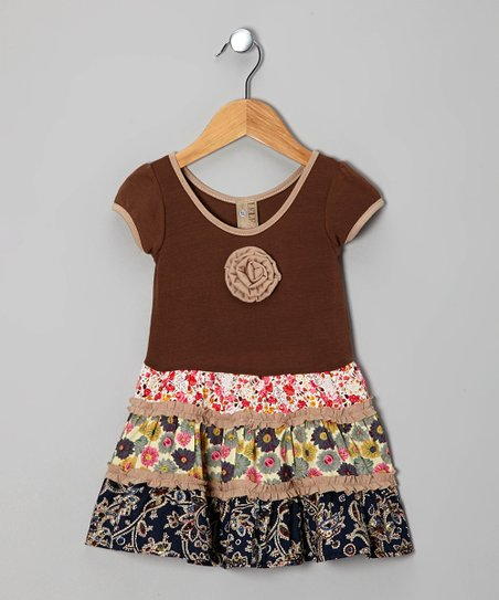 Brown Floral Patchwork Dress - Toddler & Girls