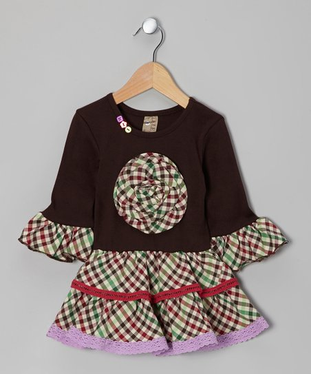 Brown & Purple Plaid Dress - Toddler & Girls