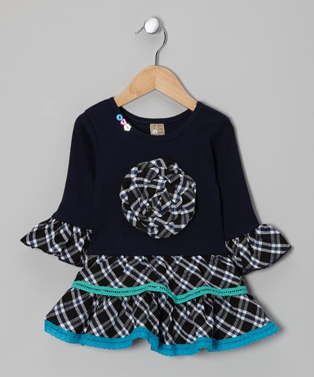 Navy Plaid Dress - Toddler & Girls