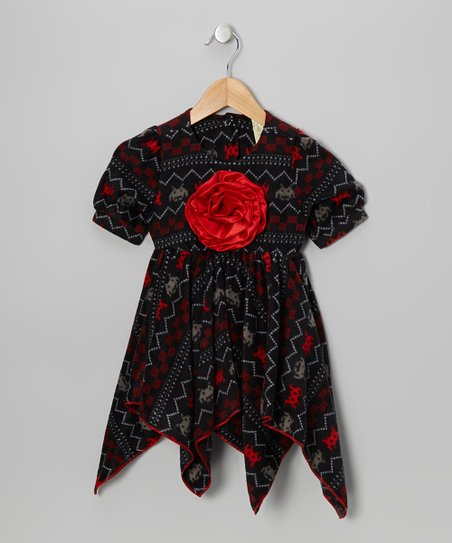 Red Space Invader Handkerchief Dress - Toddler & Girls