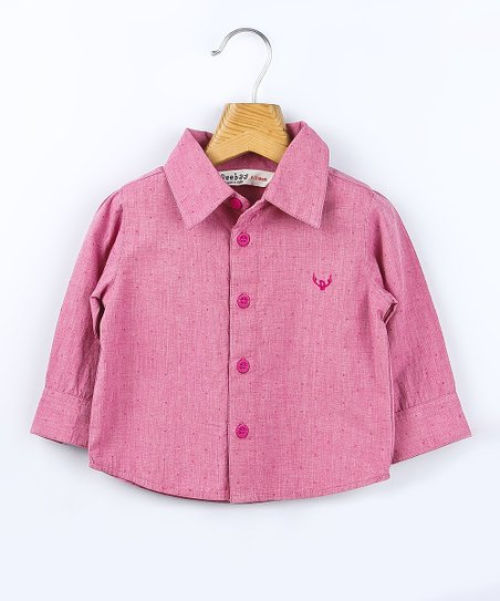 Pink Pin Dot Chambray Button-Up - Infant, Toddler & Boys