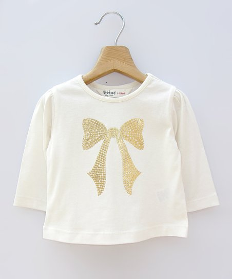 Off-White & Gold Sequin Bow Tee - Infant, Toddler & Girls