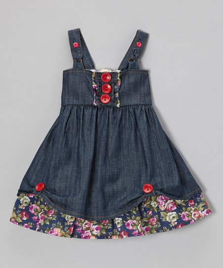 Denim Floral Button Cupcake Dress - Infant, Toddler & Girls