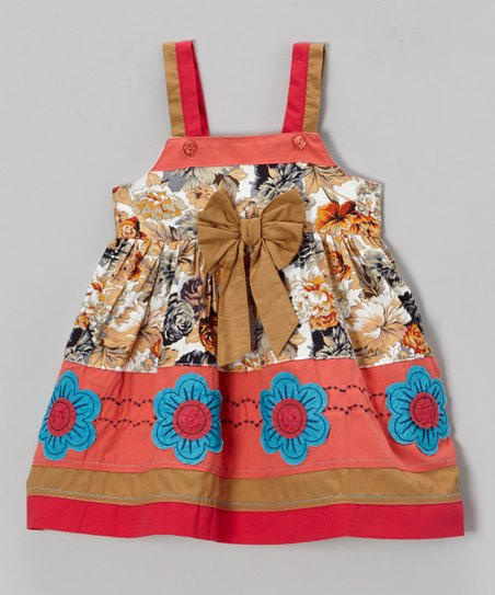 Brown Floral Bow Dress - Infant, Toddler & Girls