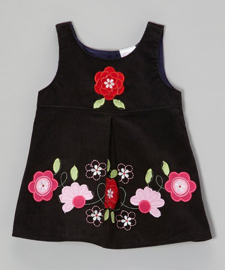 Black Embroidered Flower Corduroy Dress - Toddler & Girls