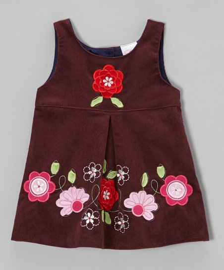 Purple Embroidered Flower Corduroy Dress - Toddler & Girls
