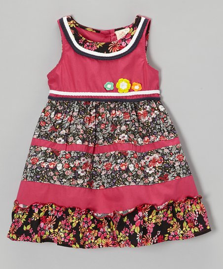 Fuchsia & Black Floral Dress - Infant, Toddler & Girls