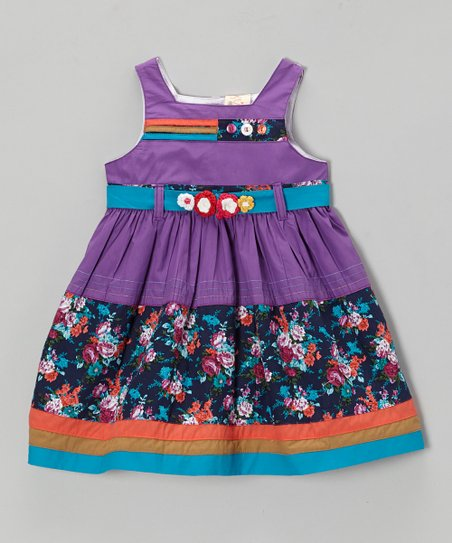 Purple & Blue Floral Sash Dress - Infant, Toddler & Girls