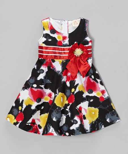 Black & Yellow Flower Dress - Toddler & Girls