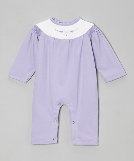 Violet & White Flower Smocked Playsuit - Infant