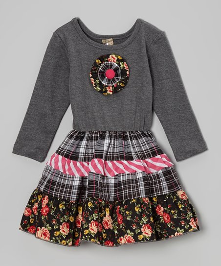 Black & Gray Floral Tiered Dress - Toddler & Girls