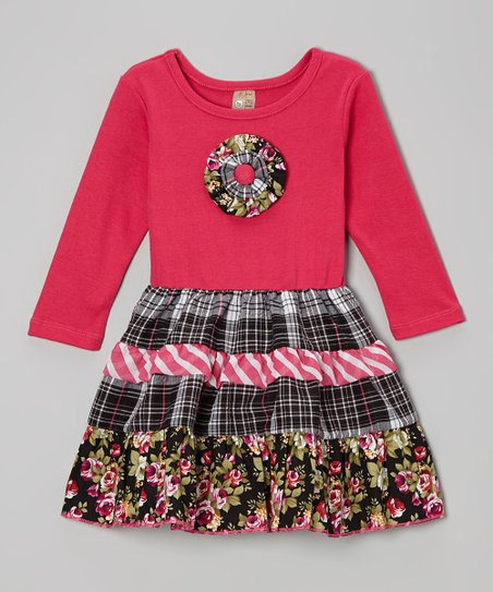 Hot Pink Floral Tiered Dress - Toddler & Girls