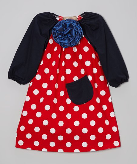 Red Polka Dot & Navy Flower Peasant Dress - Toddler & Girls
