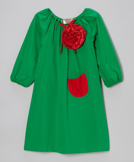 Green & Red Flower Peasant Dress - Toddler & Girls