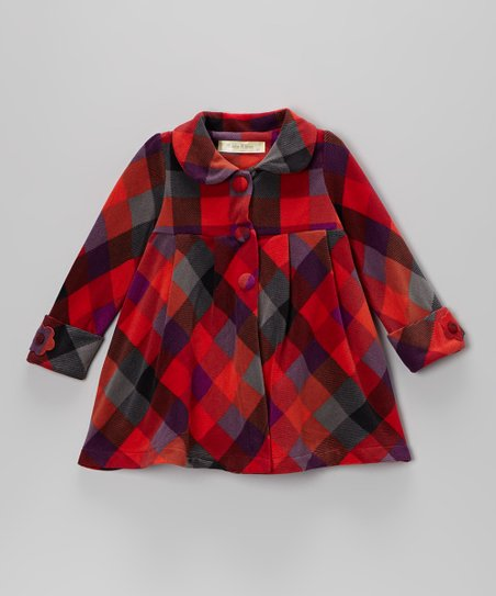 Red & Gray Peter Pan Collar Coat - Toddler & Girls
