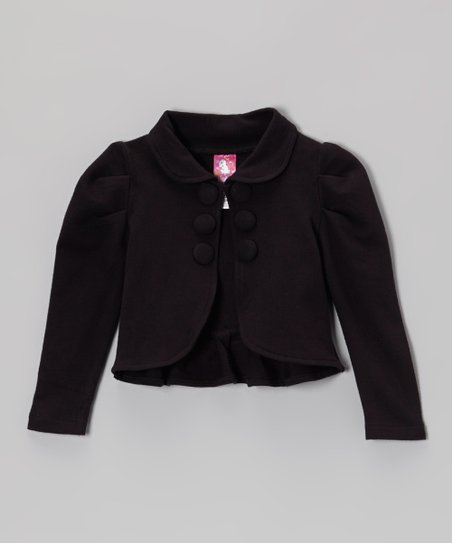 Black Gathered Shoulder Ruffle Jacket - Toddler & Girls