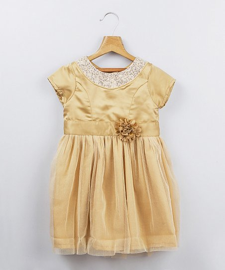 Gold Flower Dress - Infant, Toddler & Girls