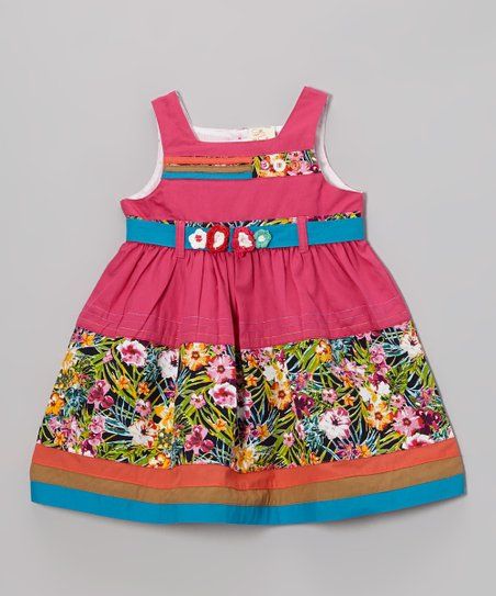 Fuchsia & Green Floral Dress - Infant, Toddler & Girls